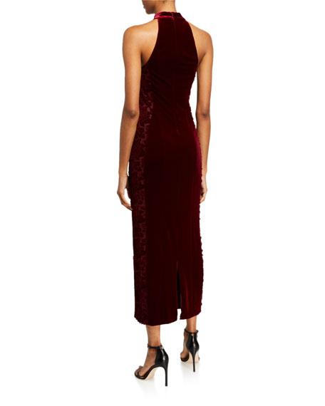 Galvan Rosa Velvet Halter Dress