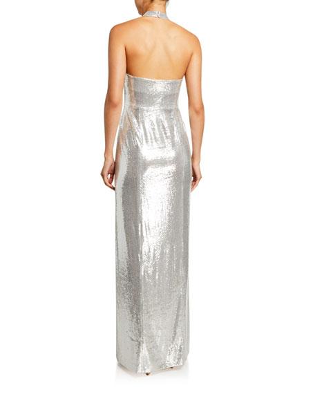 Galvan Galaxy Sequined Halter-Neck Gown