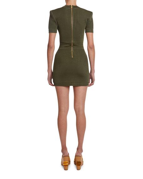 Balmain Deep-V Short-Sleeve Bodycon Dress