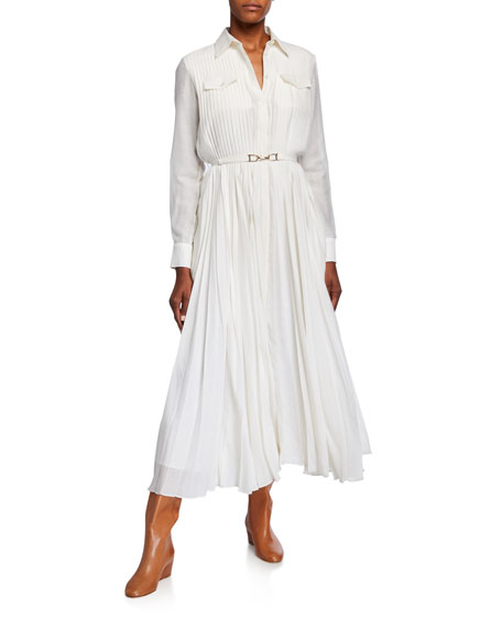 Gabriela Hearst Erella Pleated Shirtdress