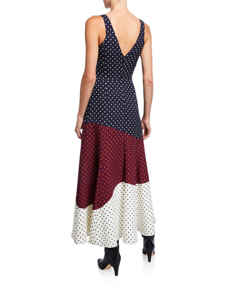 Gabriela Hearst Elliot Dotted Patchwork Dress