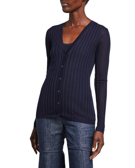 Gabriela Hearst Homer Ribbed Cashmere V-Neck Cardigan