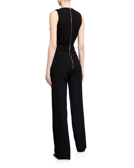 Image 2 of 2: Balmain Button-Front Crepe Sleeveless Jumpsuit