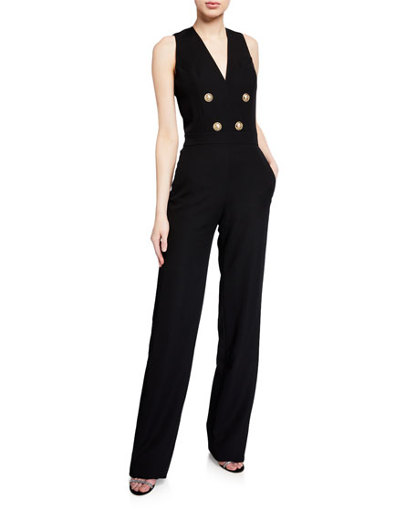 Image 1 of 2: Balmain Button-Front Crepe Sleeveless Jumpsuit