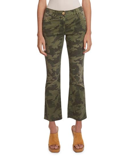 Balmain Camo Cropped Flare Jeans
