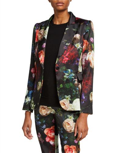 Floral Print Satin Tailored Blazer