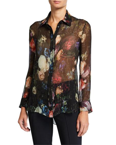 Adam Lippes Floral Print Metallic-Chiffon Menswear Top