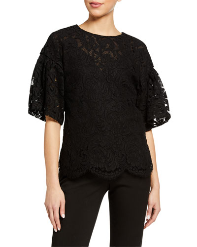 Flutter Sleeve Corded Lace Top