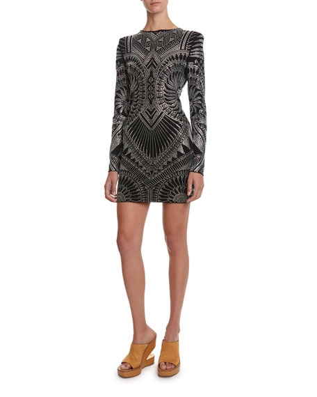 Balmain Geometric-Studded Jersey Mini Dress