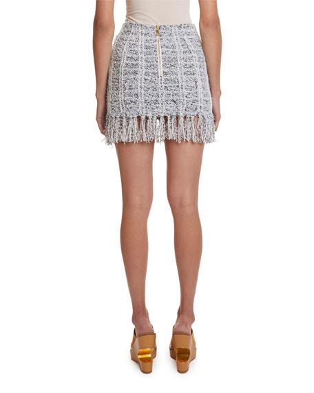 Balmain 8-Button Fringed Tweed Mini Skirt
