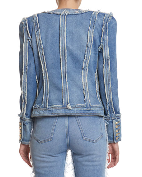 Balmain Collarless Denim Patchwork Jacket
