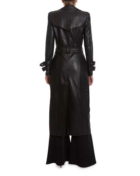 Image 2 of 3: Balmain Long Leather Trench Coat