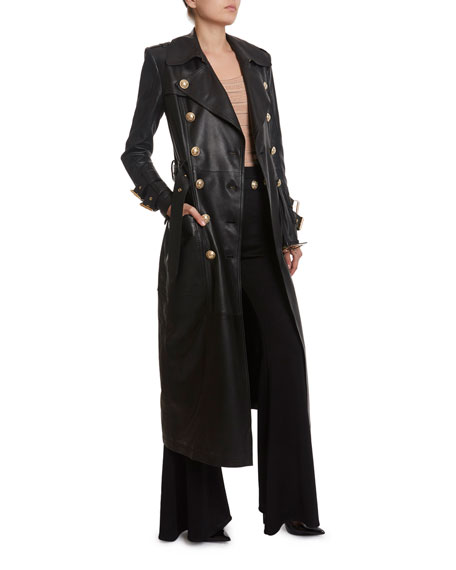 Image 3 of 3: Balmain Long Leather Trench Coat