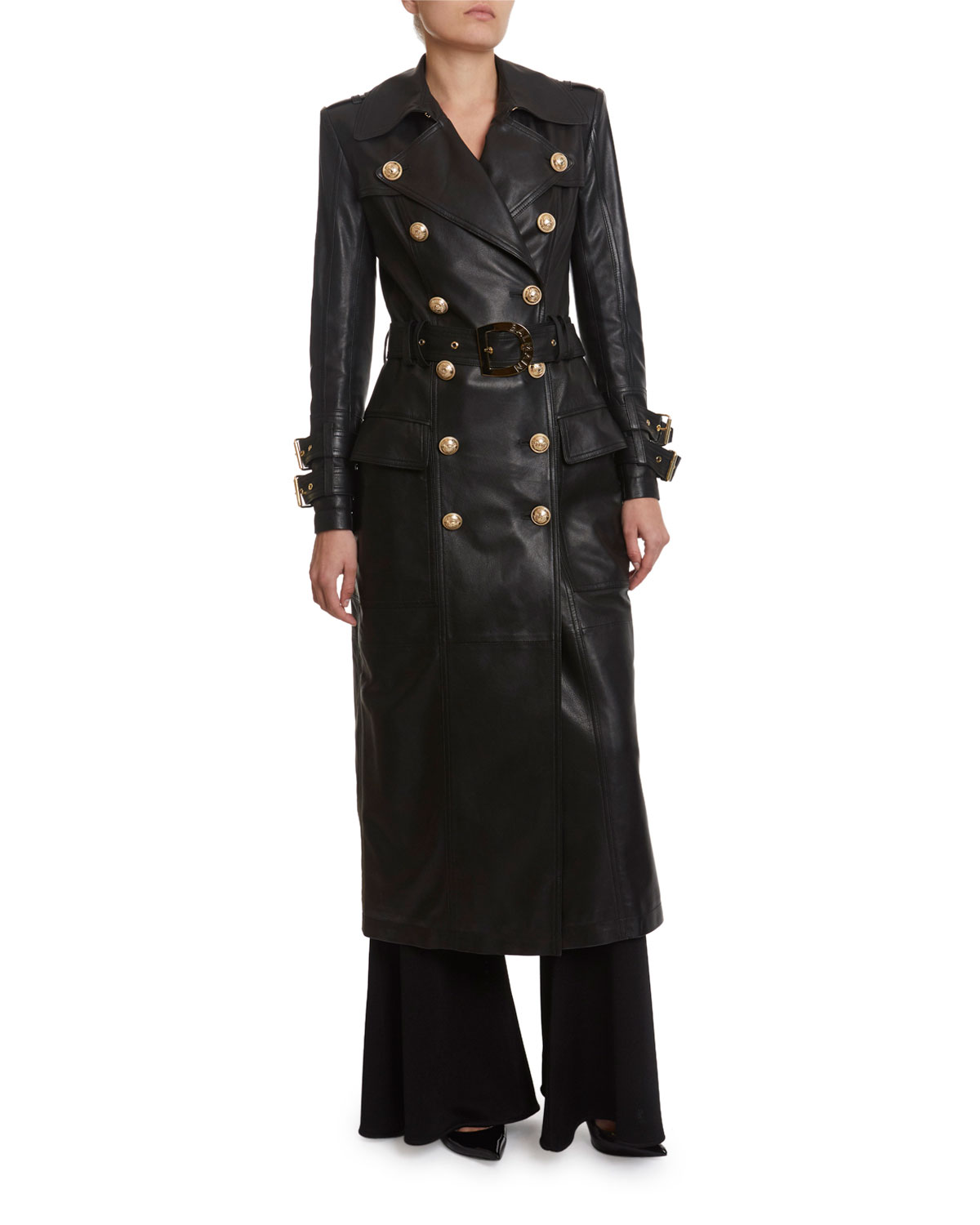 Balmain Long Leather Trench Coat