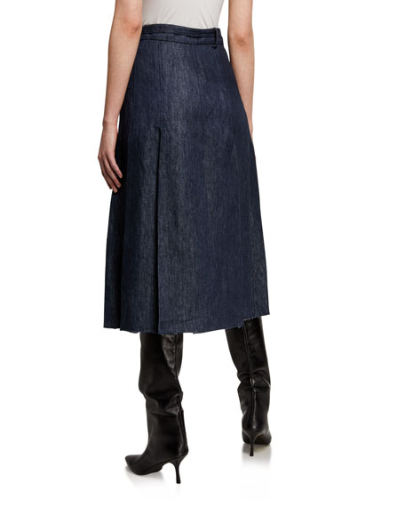 Image 2 of 3: Gabriela Hearst Herbert Chambray Pleated Midi