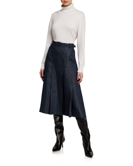 Image 3 of 3: Gabriela Hearst Herbert Chambray Pleated Midi