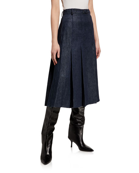Image 1 of 3: Gabriela Hearst Herbert Chambray Pleated Midi