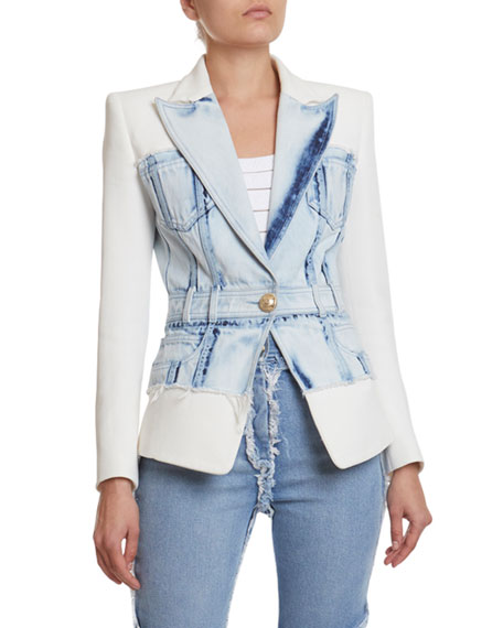 Balmain Denim & Crepe Blazer Jacket