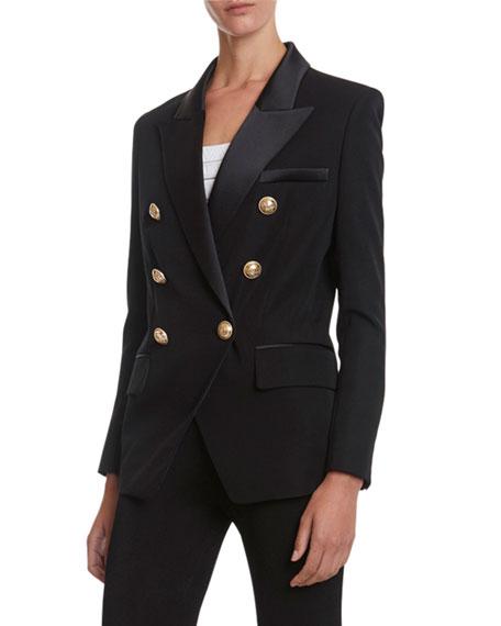 Balmain 6-Button Oversized Grain de Poudre Jacket with Satin Lapel