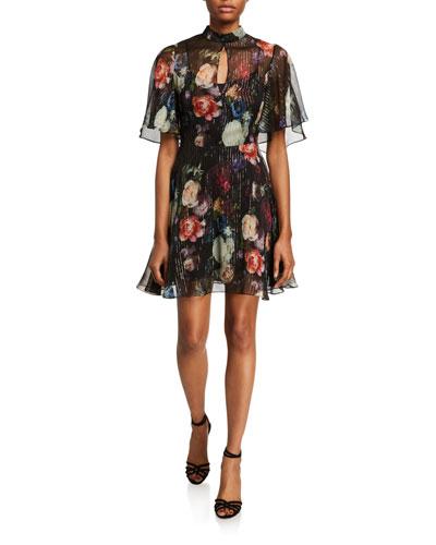 Floral Print Metallic Chiffon Mini Dress