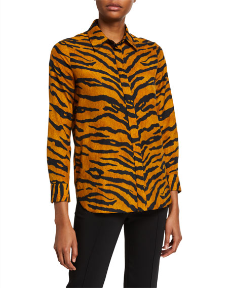Image 1 of 2: Adam Lippes Printed Voile Menswear Top
