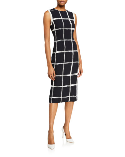 Windowpane Crepe Sheath Dress