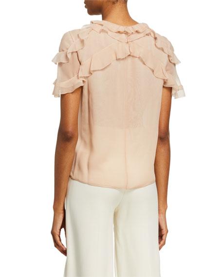Jason Wu Collection Silk Chiffon Ruffled-Sleeve Blouse