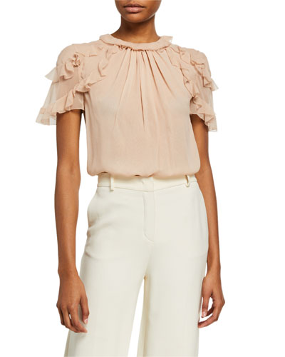 Silk Chiffon Ruffled-Sleeve Blouse