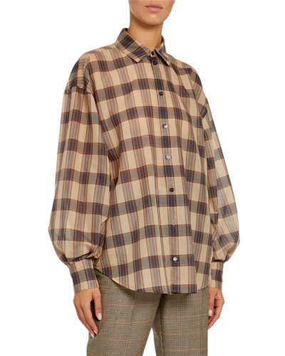 Oversized Plaid Balloon-Sleeve Shirt