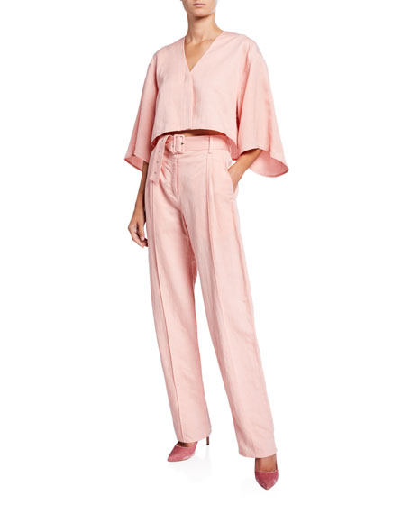 Sally LaPointe Belted Linen-Blend Pintucked Pants