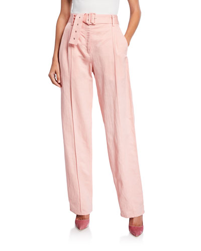 Belted Linen-Blend Pintucked Pants