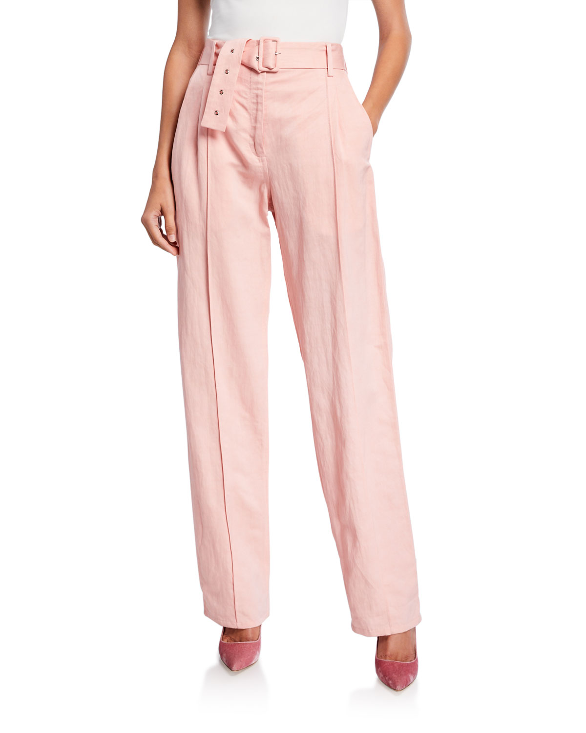 LAPOINTE Belted Linen-Blend Pintucked Pants