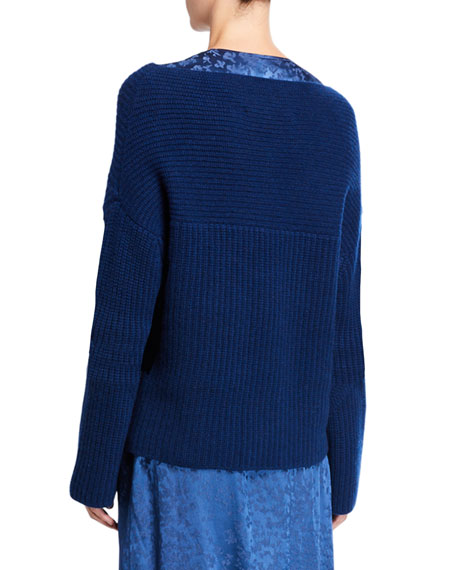 Sally LaPointe Cashmere Wide-Neck Sweater