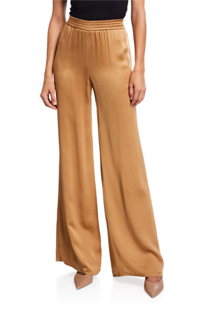 LAPOINTE Satin Wide-Leg Track Pants, Camel