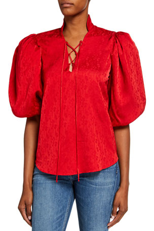 Johanna Ortiz Romantic Portrait Jacquard Puff-Sleeve Top