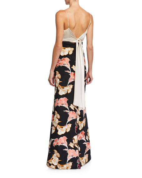 Johanna Ortiz Earthbound Floral Crepe de Chine Square-Neck Maxi Dress