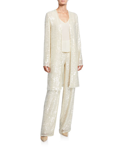 Sequined Jersey Duster Jacket  Cream