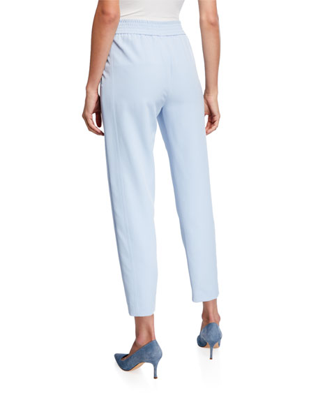 Sally LaPointe Matte Crepe Slim-Leg Track Pants