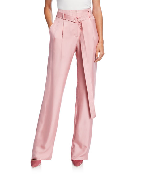 Sally LaPointe Silky Twill High-Rise Pants, Pink