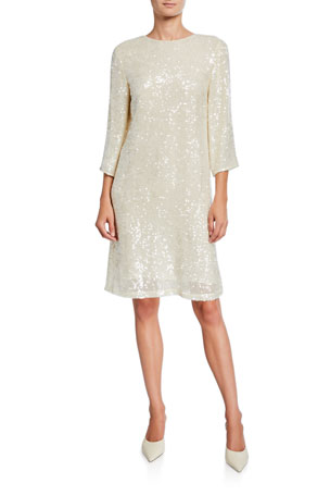 LAPOINTE Sequined Jersey Shift Dress