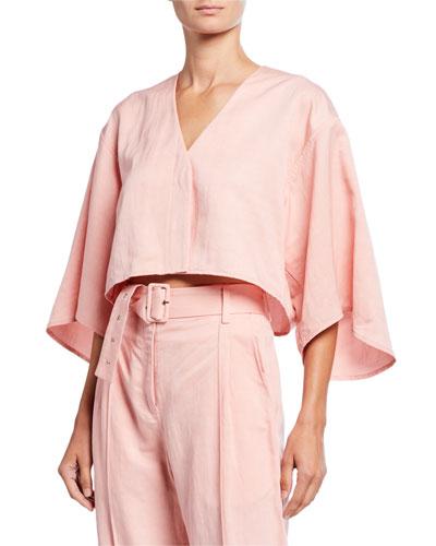 Linen-Blend Cropped Kimono Top