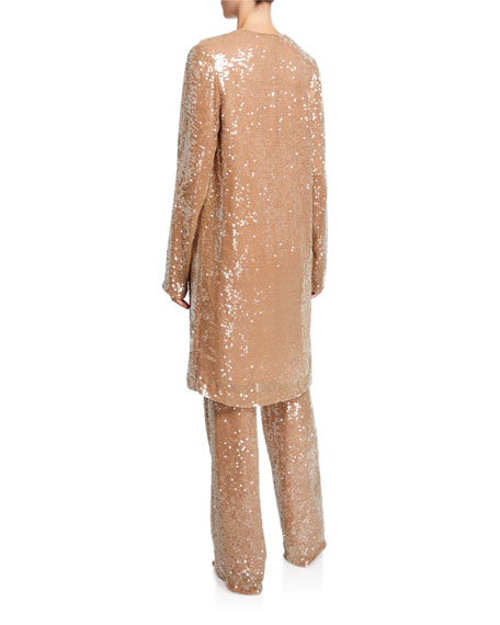 Sally LaPointe Sequined Jersey Duster Jacket, Camel