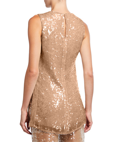 Sally LaPointe Sequined Jersey Shift Tank, Camel