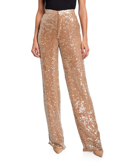 Sally LaPointe Sequined Jersey High-Rise Trousers, Cream