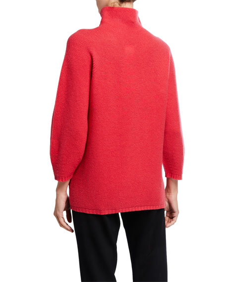 Maxmara Wool-Cashmere Mock-Neck Pique Sweater