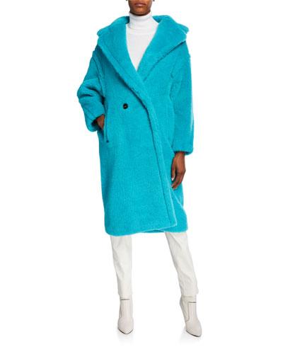 Oversized Fuzzy Teddy-Knit Coat  Turquoise