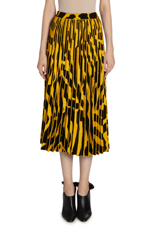 Proenza Schouler Printed Accordion Pleated Midi Skirt