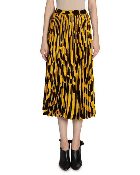 Image 1 of 2: Proenza Schouler Printed Accordion Pleated Midi Skirt