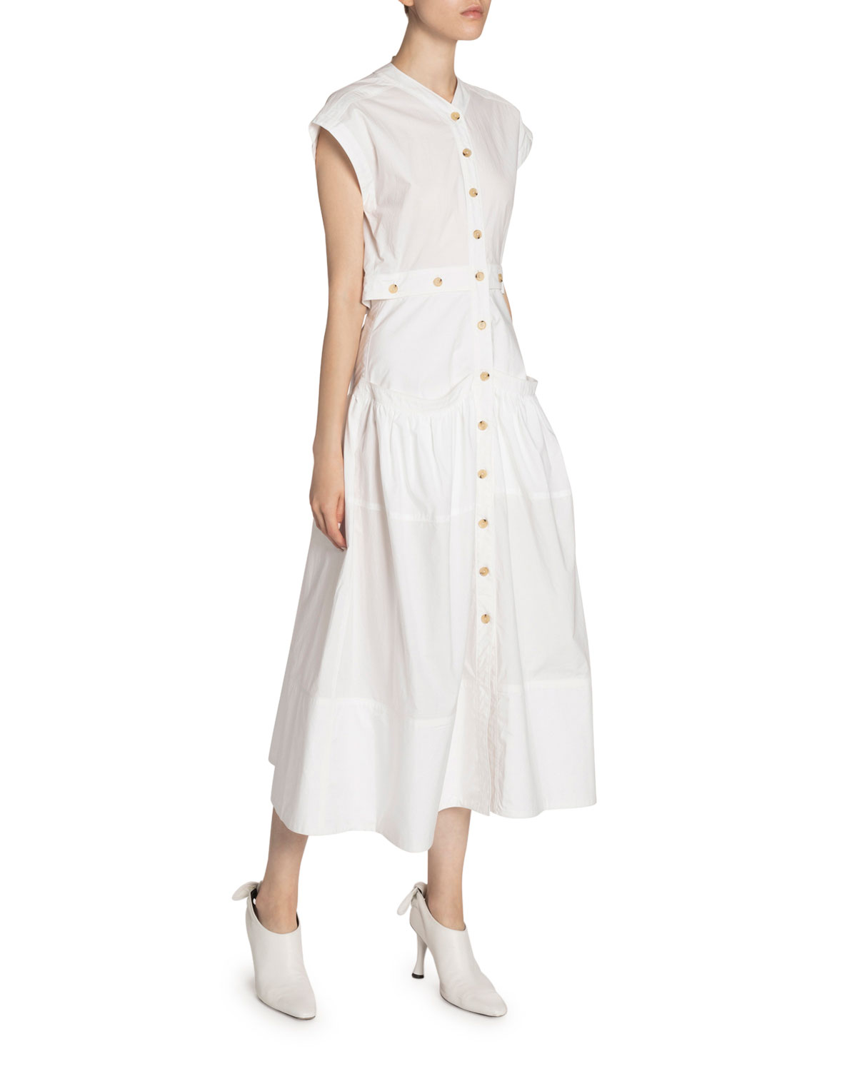 Proenza Schouler Cotton Poplin Button-Front Dress
