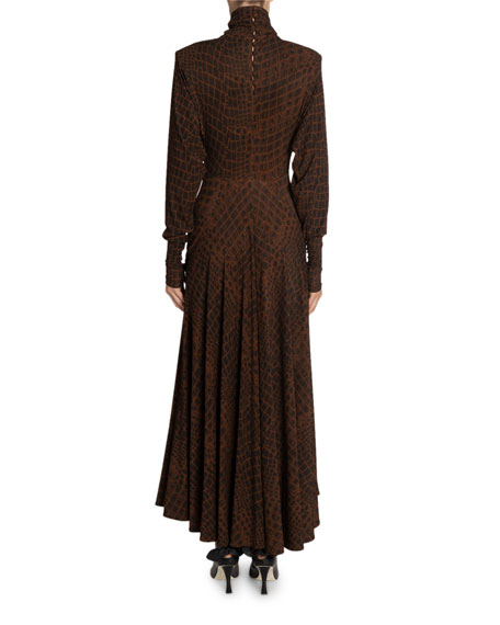 Proenza Schouler Crocodile-Print Jersey Turtleneck Dress